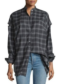 Helmut Lang Tabbed-Sleeve Plaid Open-Back Shirt