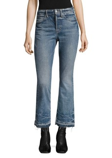 Helmut Lang Tacked Crop Flare Cotton Jeans