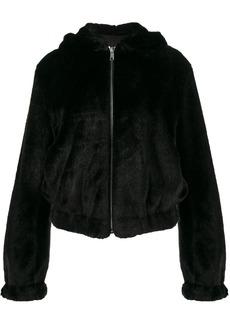 Helmut Lang teddy hood faux fur jacket - Black