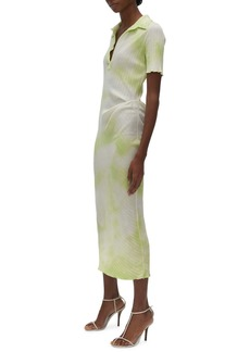 Helmut Lang Tie Dye Rib Cotton Polo Dress