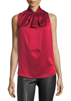 Helmut Lang Tie-Neck Sleeveless Silk Charmeuse Blouse