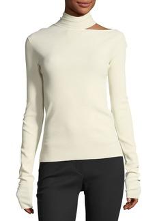 Helmut Lang Tieback High-Neck Long-Sleeve Sweater