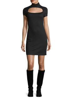 Helmut Lang Turtleneck Cutout Short-Sleeve Wool Mini Dress