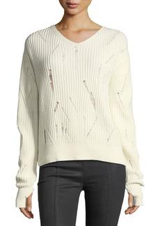 Helmut Lang V-Neck Drop-Needle Wool Sweater