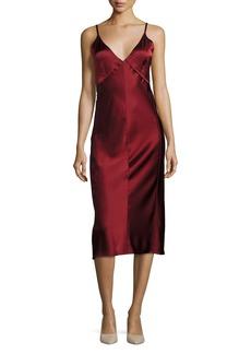 Helmut Lang V Neck Sateen Slip Midi Dress