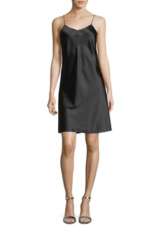 Helmut Lang V-Neck Satin Slip Dress with Zipper Detail