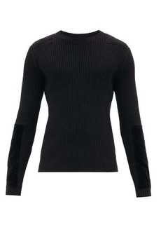 Helmut Lang Velvet-patch ribbed cotton-blend sweater