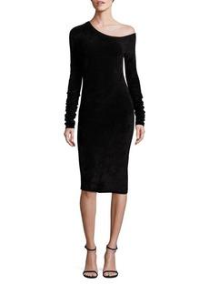 Helmut Lang Velveteen One-Shoulder Dress