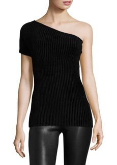 Helmut Lang Velveteen One-Shoulder Top