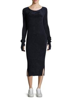 Helmut Lang Velveteen Scoop-Neck Long-Sleeve Midi Dress