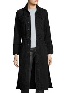 Helmut Lang Washed Denim Button-Front Trenchcoat