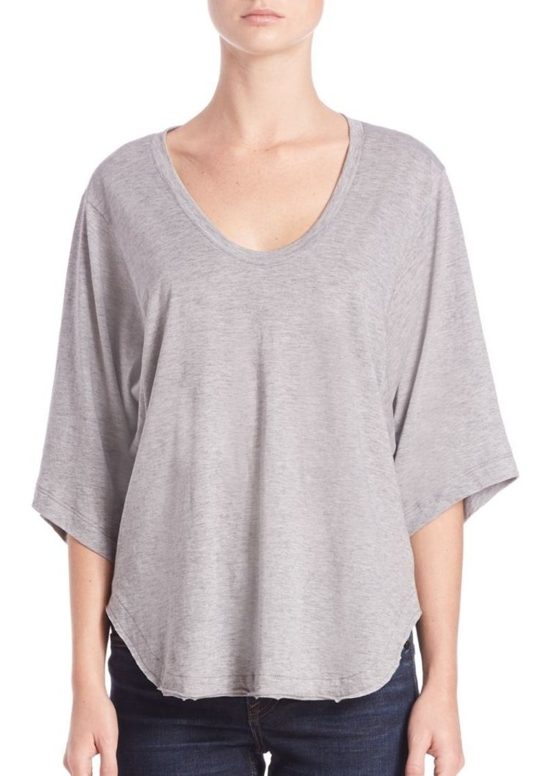 Helmut Lang Wide Sleeve Cotton & Cashmere Scoopneck Tee