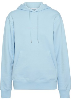 Helmut Lang Woman Alien Embroidered French Cotton-terry Hoodie Sky Blue