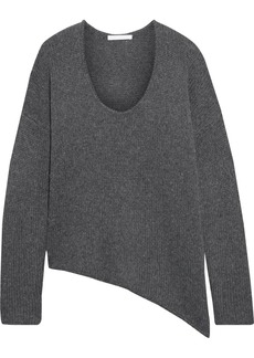 Helmut Lang Woman Asymmetric Brushed Knitted Sweater Dark Gray