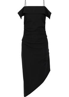 Helmut Lang Woman Asymmetric Draped Cady Dress Black