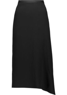 Helmut Lang Woman Asymmetric Draped Cady Midi Skirt Black