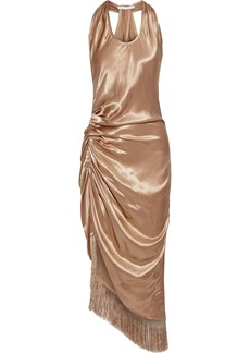Helmut Lang Woman Asymmetric Fringed Ruched Satin Midi Dress Sand
