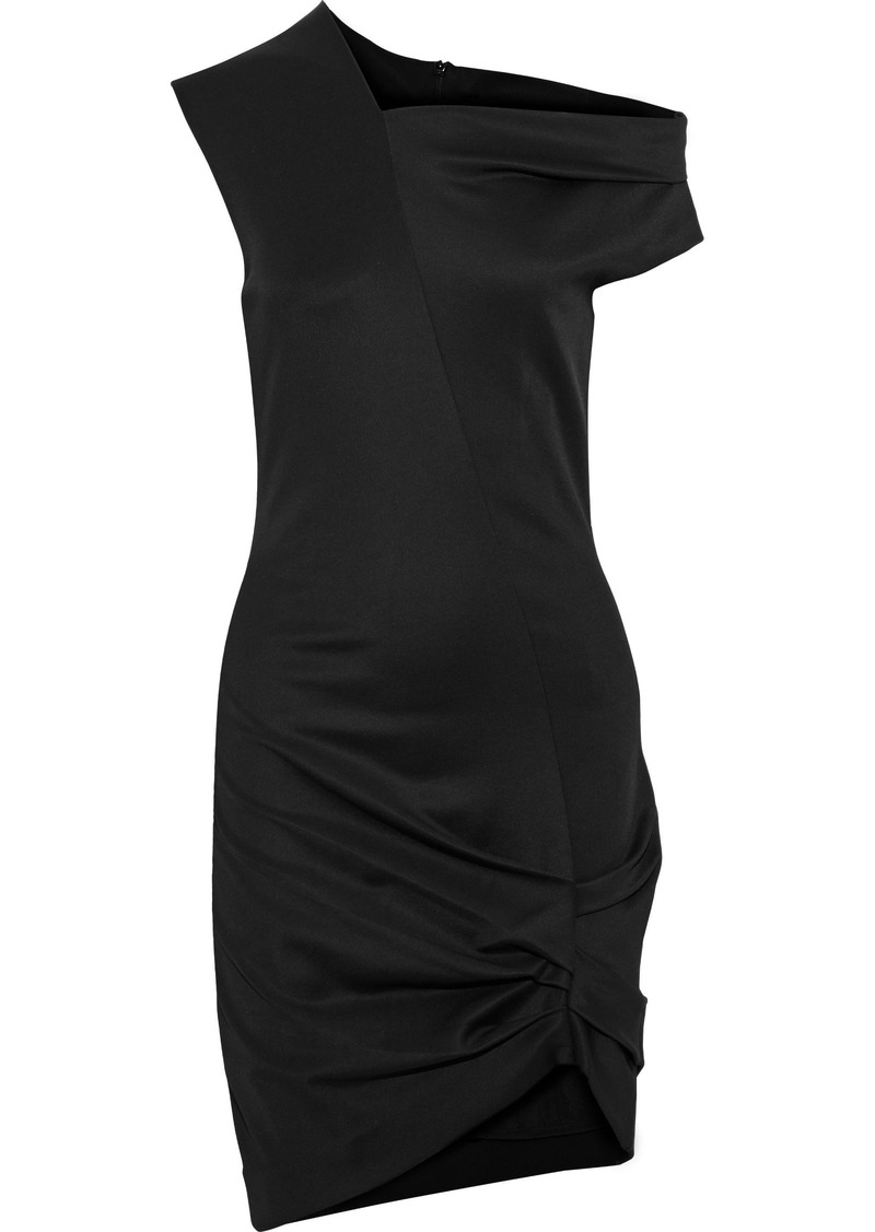 Helmut Lang Woman Asymmetric Off-the-shoulder Stretch-jersey Mini Dress Black