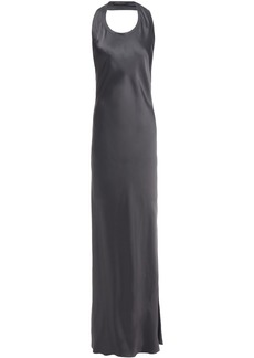 Helmut Lang Woman Asymmetric Open-back Satin Maxi Dress Anthracite