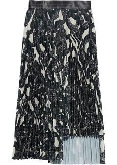 Helmut Lang Woman Asymmetric Pleated Printed Basketweave Midi Skirt Black