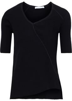 Helmut Lang Woman Asymmetric Ribbed Cotton-jersey Top Black