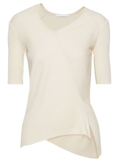 Helmut Lang Woman Asymmetric Ribbed Cotton Top Ecru
