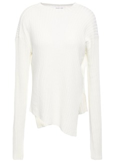 Helmut Lang Woman Asymmetric Ribbed Paper-blend Sweater Off-white