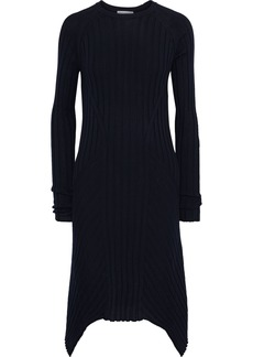 Helmut Lang Woman Asymmetric Ribbed Wool Dress Midnight Blue