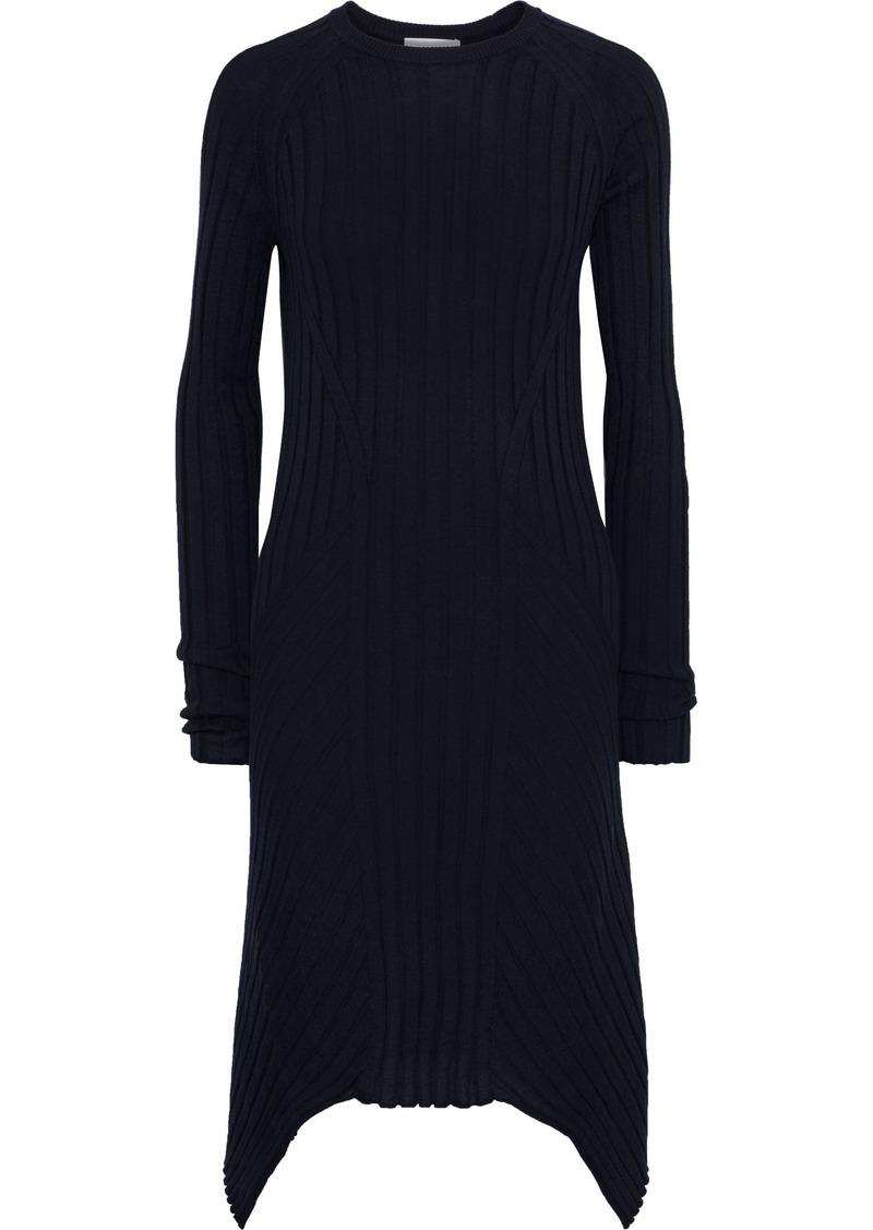 Helmut Lang Woman Asymmetric Ribbed Wool Dress Midnight Blue
