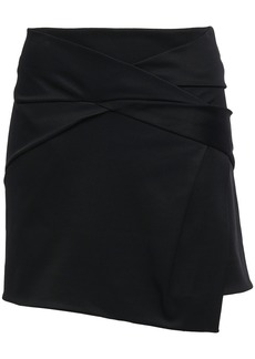 Helmut Lang Woman Asymmetric Wrap-effect Ponte Skirt Black