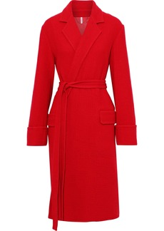 Helmut Lang Woman Belted Brushed Wool Coat Red