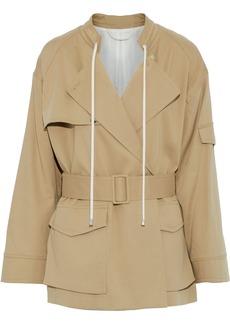 Helmut Lang Woman Belted Cotton-gabardine Jacket Sand