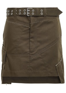 Helmut Lang Woman Belted Paneled Twill Mini Skirt Army Green