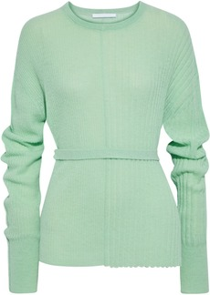 Helmut Lang Woman Belted Ribbed Alpaca-blend Sweater Mint