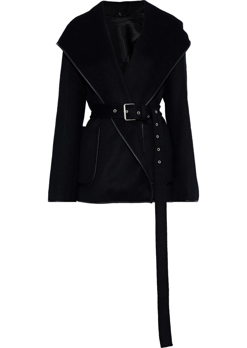 Helmut Lang Woman Belted Wool And Cashmere-blend Felt Hooded Jacket Black