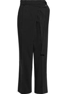 Helmut Lang Woman Belted Wool-blend Crepe Straight-leg Pants Black