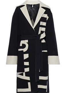 Helmut Lang Woman Belted Wool-jacquard Coat Black