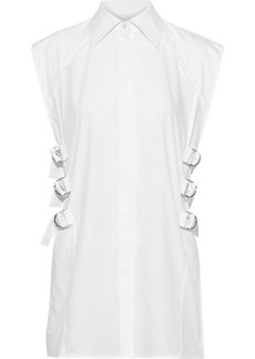 Helmut Lang Woman Buckle-detailed Cotton-poplin Shirt White