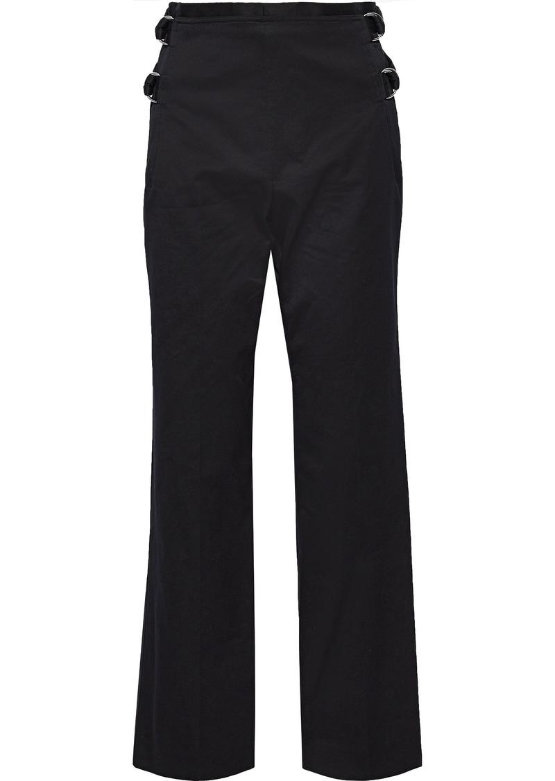 Helmut Lang Woman Buckled Cotton-faille Straight-leg Pants Black