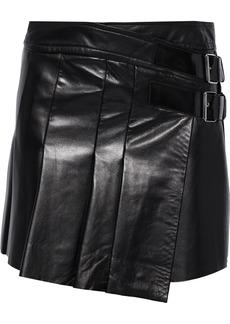 Helmut Lang Woman Buckled Pleated Leather Mini Skirt Black