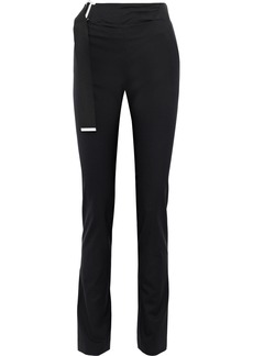 Helmut Lang Woman Buckled Wool-cady Slim-leg Pants Black