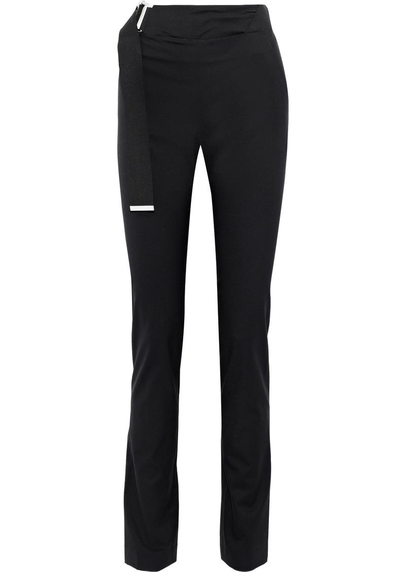 Helmut Lang Woman Buckled Wool-cady Slim-leg Pants Black