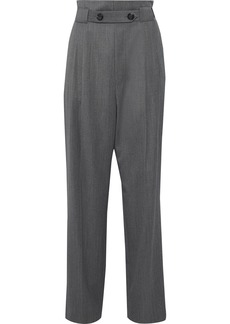Helmut Lang Woman Button-detailed Gathered Wool-twill Wide-leg Pants Anthracite