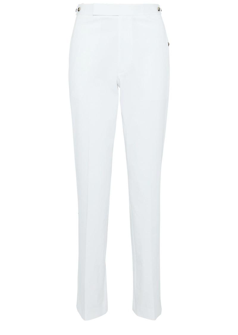Helmut Lang Woman Button-detailed Stretch-cotton Straight-leg Pants White