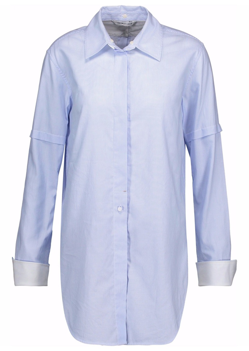Helmut Lang Woman Button-detailed Striped Cotton-poplin Shirt Light Blue
