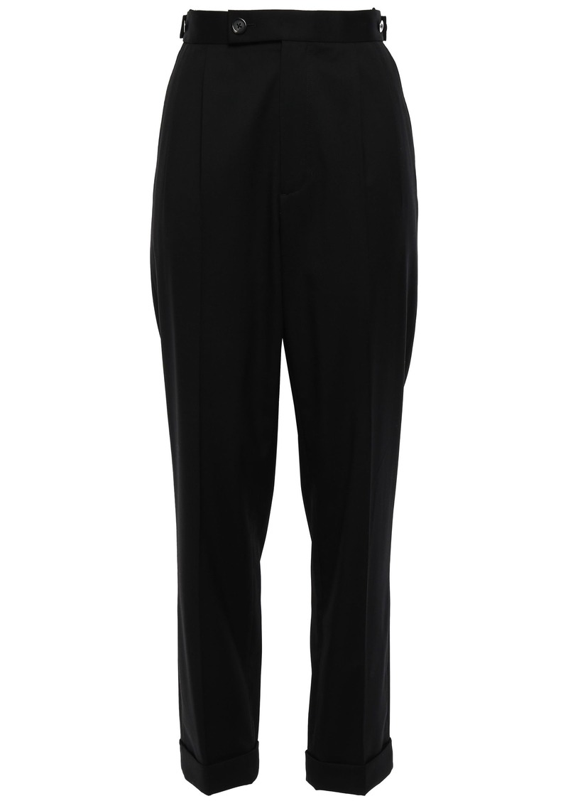 Helmut Lang Woman Button-detailed Wool Tapered Pants Black