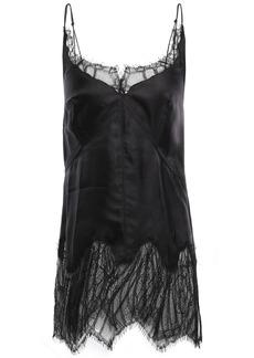 Helmut Lang Woman Chantilly Lace-paneled Satin-twill Camisole Black