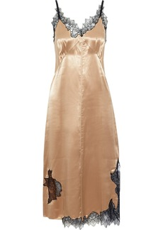 Helmut Lang Woman Chantilly Lace-trimmed Charmeuse Midi Slip Dress Sand