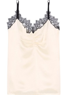 Helmut Lang Woman Chantilly Lace-trimmed Ruched Satin Camisole Cream