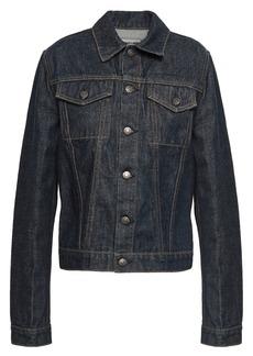 Helmut Lang Woman Coated Denim Jacket Dark Denim